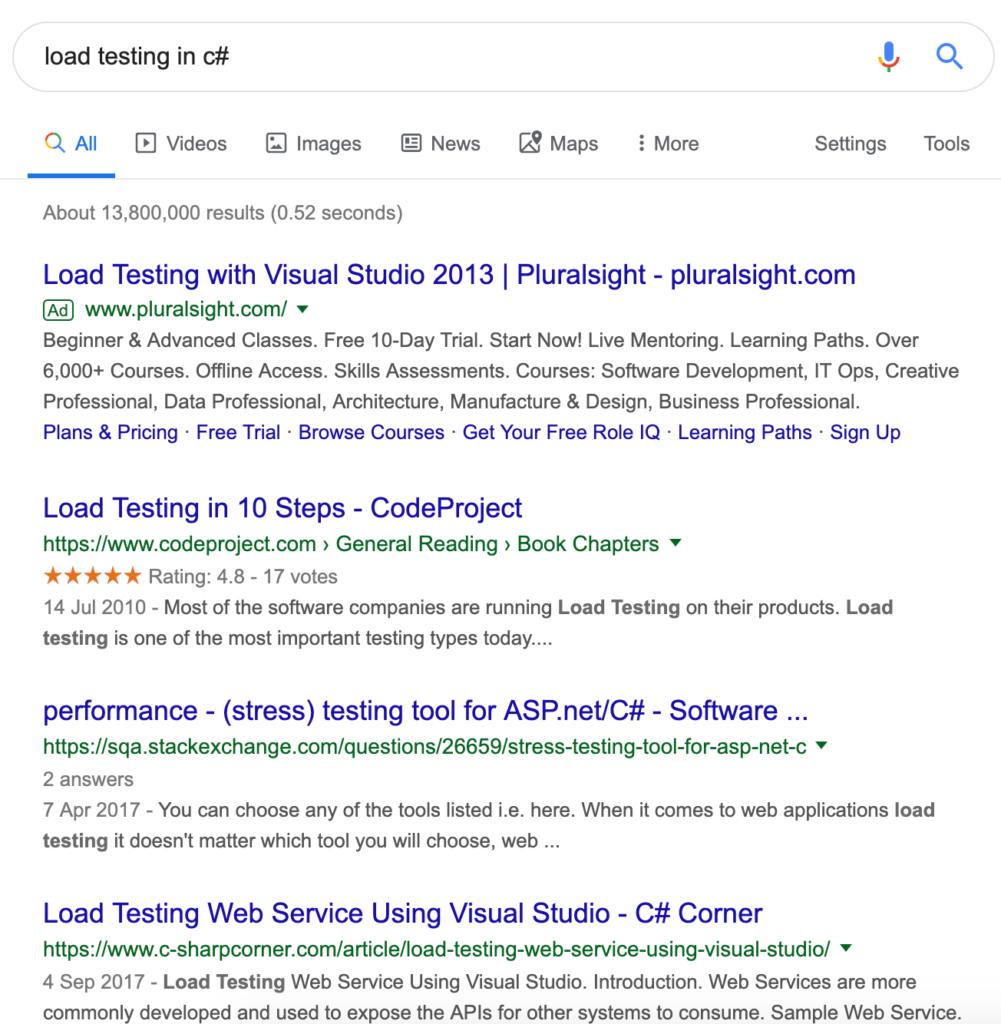 Googling C# load testing