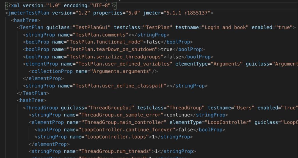 Example of a JMeter jmx file