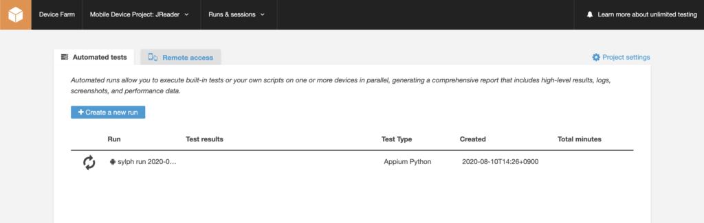 My first test run in AWS Device Farm
