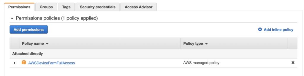 Setting up an IAM Account with AWSDeviceFarm access